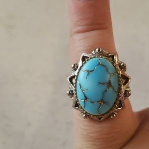 Vintage crackle turquoise ring